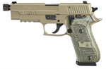 "Sig Sauer P220 Scorpion TB Pistol 220R-45-SCPN-TB, Full Size, 45 ACP, 5"" Barrel, DA/SA, Hogue G10 Piranha Grips, Flat Dark Earth Finish, 8 + 1 Rd, w/ Threaded Barrel"
