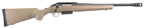 "Ruger American Ranch Rifle 16950, 450 Busmaster, 16"" BBL, Flt Drk Earth Stock, Black Finish, 3+1 Rds"