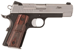 Sig Sauer 1911 RCS Two-Tone Pistol 1911CO45TSSRCS, 45 ACP, 4 1/4 in BBL, Sngl Actn Only, Wood Grips, Novak Night Sights, Two Tone Finish, 6 + 1 Rds