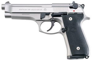 Beretta Model 92FS INOX Pistol JS92F510, 9 mm, 4.9 in, Rubber Grips, Stainless Finish, 3 Dot, 10 Rd