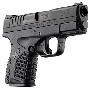 Springfield Model XDS Pistol XDS93345B, 45 ACP, 3.3 in, Black Finish, Fiber Optic Front Sight, 5 Rd
