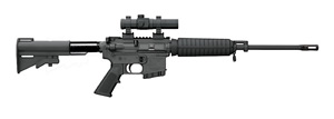 Bushmaster Carbon 15 M4 Type Carbine 90806, 223 Rem, 16 in, Semi Auto, M4 Fixed Stock, Black Finish, 10 + 1 Rds, State Compliant