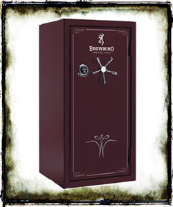 "Browning M28 Medallion Series Gun Safe 1601100046, 60""h x 31""w x 26""d, 18 Bolts, 855 lbs, Gloss Black Cherry w/Scroll Graphic Engraving, Shipping Included to Curb, In Stock Ready to Ship"