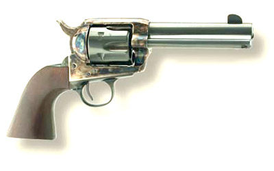 Cimarron Frontier Pre-War Revolver PP347, 45 LC, 4.75 in, Chkd Birds Head Grip, Blue Finish, Fixed Sights, 6 Rd