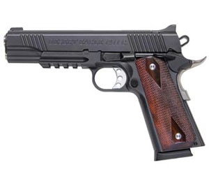 "Magnum Research Desert Eagle 1911 ""G"" Model Pistol DE1911GR, 45 ACP, 5"" Barrel, Wood Grips, Matte Black Finish, 8 + 1 Rd w/ Accessory Rail"
