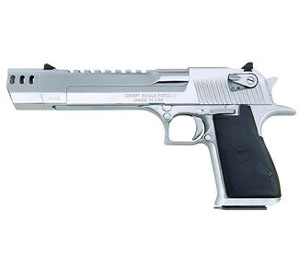 "Magnum Research Desert Eagle Mark XIX Pistol DE50PCMB, 50 AE, 6"" Barrel, Semi-Auto, Single Action, Formed Grips, Polished Chrome Finish, 7 + 1 Rd with Muzzle Brake"
