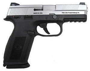 FN Herstal FNS-9 Pistol 66928, 9 mm, 4 in, Double Action, Poly Grip, Stainless Slide/Bk Frame, 17 + 1 Rd, Night Sights