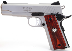 Ruger SR1911-CMD Pistol 6702, 45 ACP, 4.25 in, Rosewood Grips, Stainless Finish, 8+1 Rds