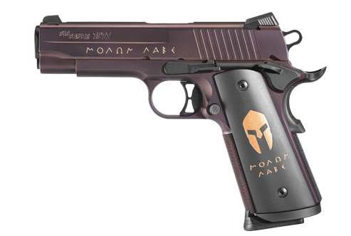 "Sig Sauer 1911 Carry Spartan Pistol 1911CA45SPARTAN, 45 ACP, 4.2"" BBL, Black w/Bronze Inlay Grip, Bronze Nitron Finish, 8 + 1 Rd"