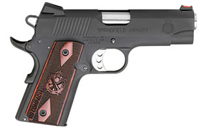 Springfield 1911 Range Office Compact Pistol PI9126LP, .45 ACP, 4 in Stainless Match Grade BBL, Seim-Auto, Parkerized Finish, Cocobolo Grips,  6 Rds