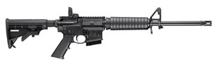 "Smith and Wesson M&P 15 Sport II Rifle 10204, 5.56 NATO, 16"" BBL, Semi-Auto, Adj Stock, Adj A2 Post/Magpul MBUS Rear Sights, Black Finish, 10+1 Rds, CA Compliant Model"