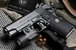 Wilson Combat CQB Light-Rail LightWeight Compact Pistol CQBLRLW-CPR, .45 ACP/9mm/.38 Super, 4 in Stainless Match Grd BBL, G10 Starburst Grips, Armor-Tuff Finish, 7 Rds