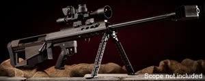 Barrett Model M95 Rifle System 13140, .50 BMG, Bolt-Action, 29 in Barrel, Black Finish, w/Leopold Mark 4 Scope, ZERO-GAP Ultra High Rings, 5 Rd