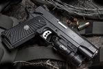 Wilson Combat CQB Light-Rail LightWeight Pistol CQBLRLW-FSR, .45 ACP/9mm/40 S&W/.38 Super, 5 in Stainless Match Grd BBL,  G10 Starburst Grips, Armor-Tuff Finish, 8 Rds