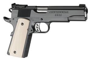 Les Baer 1911 Custom Centennial Pistol LBCC45, .45 ACP, 5 in BBL, Real Ivory Grips, Deluxe Charcoal Blue Finish, 8 Rds