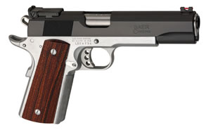 Les Baer 1911 Boss Pistol LBB45, .45 ACP, 5 in BBL, Chk Cocobolo Grips, Chromed Lower, Blue Slide Finish, 8 Rds