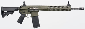 LWRC M6 IC Enhanced Gas Piston Carbine ICER5ODG16, 5.56 NATO, 16.1 in Spiral Fluted BBL, LWRCI Stock, Skirmish Folding Sights, 9 in Modular Rail, OD Finish, Adj Gas Block, 30 Rds