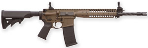 LWRC M6 IC SPR Gas Piston Carbine ICR5PBC16SPR, 5.56 NATO, 16.1 in Spiral Fluted BBL, LWRCI Stock, Skirmish Folding Sights, 12 in Modular Rail, Patriot Brown Finish, 30 Rds