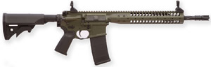 LWRC M6 IC SPR Gas Piston Carbine ICR5ODG16SPR, 5.56 NATO, 16.1 in Spiral Fluted BBL, LWRCI Stock, Skirmish Folding Sights, 12 in Modular Rail, OD Finish, 30 Rds