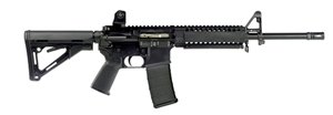 LWRC M6A1 Base Model Special Teams Gas Piston Rifle BM6A1R5B14P, 5.56 NATO, 14.7 in BBL, M4 Collapsible Stock, ARMS Fixed Sight, Blk, 30 Rd
