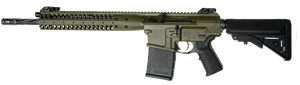 LWRC REPR Rapid Engagement Precision Gas Piston Rifle REPRR7CKF16, 7.62 Nato, 16.1 in Spiral Fluted BBL, SOPMOD Stock, LWRC Folding BUIS Sights, FDE, 20 Rd