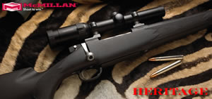 McMillan Heritage Hunting Rifle HE416ReMM-24, 416 Rem Mag, Bolt Action, 24 in BBL 1x14 Twist, Matte Black Finsh, 4 Rd