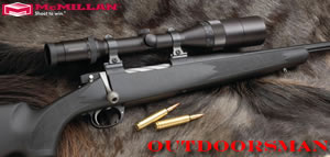McMillan Outdoorsman Hunting Rifle OU300RUM-28, 300 Rem Ultra Mag, Bolt Action, 28 in BBL 1x12 Twist, Matte Black Finsh, 4 Rd