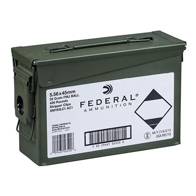 Federal Ammunition XM193LC1AC1, 5.56 Nato, 55 Gr, FMJ Ball, Stripper Clips, 420 Rds w/Ammo Can