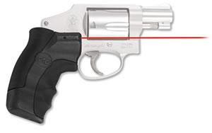 Crimson Trace Corporation Hi-Brite LaserGrip, Fits S&W J Round Butt, RubberWraparound, Red Laser LG-350