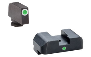AmeriGlo I-Dot, Sight, Fits Glock 42 and 43, Green Tritium White Outline Front with Green Rear GL-105