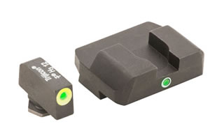 AmeriGlo Pro I-Dot 2 Dot Sights for Glock 17,19,22,23,24,26,27,33,34,35,37,38,39, Green/Green, Front and Rear Sights GL-301