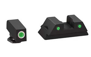 AmeriGlo Operator Sight, Fits Glock 42 and 43, Green with White Outline, Front and Rear Sights GL-382