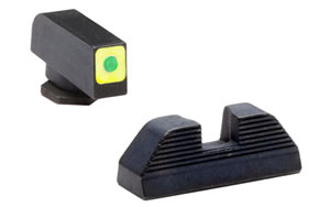 AmeriGlo Sight, Fits Glock 42 and 43, Green Tritium LimeGreenLumi Square Outline Front Serrated Rear Set GL-646
