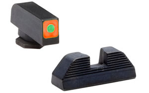 AmeriGlo Sight, Fits Glock 42 and 43, Green Tritium Orange Square Outline Front Black Serrated Rear Set GL-647