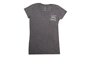 Glock OEM GLOCK Perfection Womens V-Neck T-Shirt, Short Sleeve, S, Charcoal AA68160