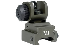 Midwest Industries Sight, Fits Picatinny, OD Green, Rear, Flip Up MCTAR-ERS