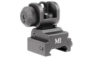 Midwest Industries Sight, Fits Picatinny, Black, Rear, Flip Up MCTAR-ERS