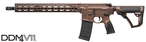 "Daniel Defense DDM4 V11 Mid-Length (MIL-SPEC+) Carbine 02-151-00257-047, 223 Rem/5.56 Nato, 16"" BBL, Semi-Auto, 15"" KeyMod Slim Rail, DD Adj Stock, MILSPEC Brown Cerakote Finish, 30 Rds"