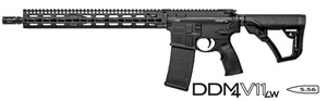 Daniel Defense DDM4 V11 LW Lightweight Carbine 02-151-30032-047, 223 Rem/5.56 Nato, 16 in Chrome Lined LW BBL, Semi-Auto, DD Adj Stock, Blk Finish, 15 in DD Slim Rail, No Sights, 30 Rds