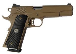 Wilson Combat X-TAC Pistol XTC-FS-45, .45 ACP, 5 in Stainless Match Grd BBL, Blk Starburst Grips, Black, 8 Rds, Parkerized FDE Finish, Night Sights