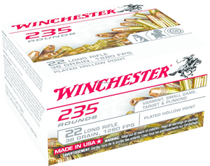 Winchester USA235LRH Rimfire Ammo 22 LR, CPHP, 36 Grains, 1280 fps, 235 Rounds