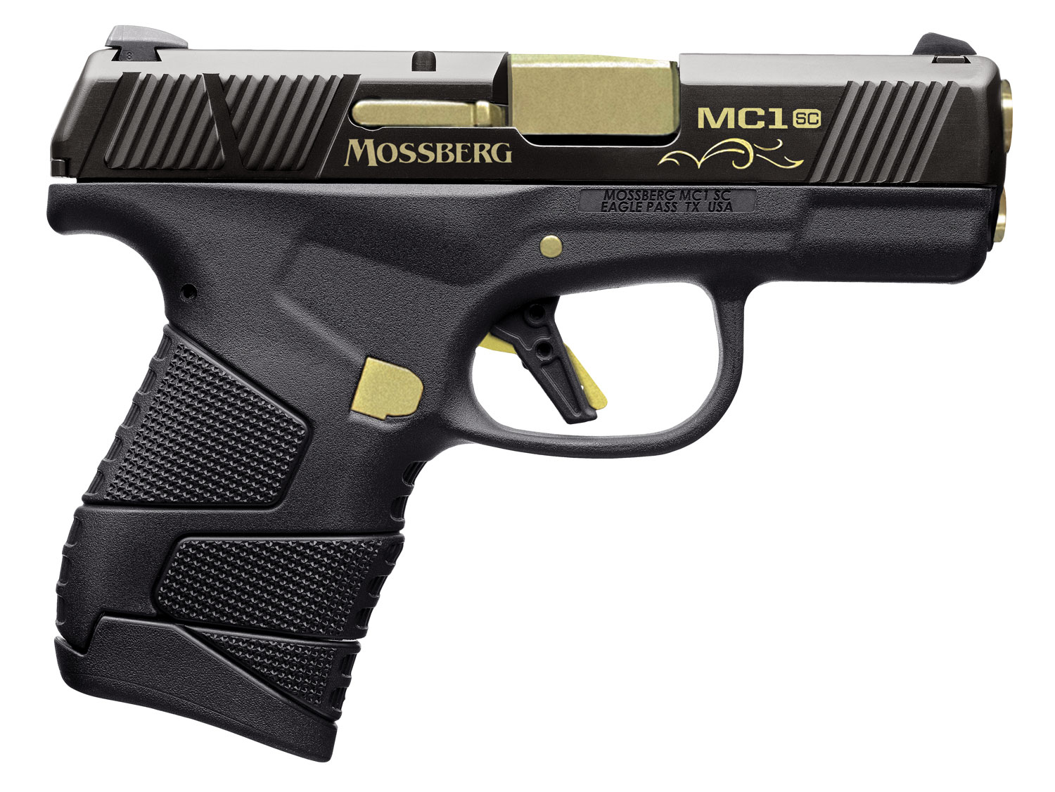 Mossberg MC-1 Centennial Pistol 89005, 9mm, 3.4 in, Black/Gold, 6+1