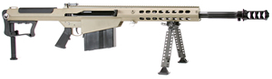 "Barrett M107A1 Rifle System 14558, .50 BMG, 20"" Fluted Chrome-Lined BBL, Semi-Auto, Bipod/Monopod, Back-Up Sights, Suppressor Ready Muzzle Brake, FDE Cerakote Finish, 10 Rds"