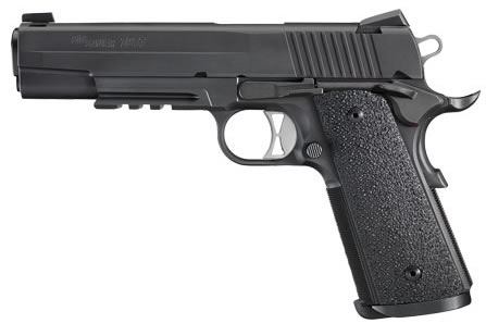 "Sig Sauer 1911 Traditional Tactical Operations Pistol 1911TR-45-TACOPS, Full Size, 45 ACP, 5"" Barrel, SAO, Ergo XT Grips, Nitron Finish, 8 + 1 Rd, w/ Rail"