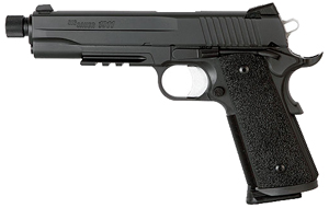 "Sig Sauer 1911 Tactical Operations TB Pistol 1911R-45-TACOPS-TB, Full Size, 45 ACP, 5"" Barrel, SAO, Ergo XT Grips, Nitron Finish, 8 + 1 Rd, w/ Rail and Threaded Barrel"
