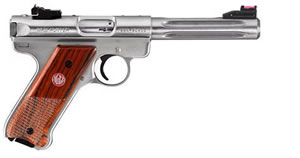 Ruger Mark III KMKIII512H Hunter Semi-Auto Pistol 10125, 22 LR, 5.5 in, Stainless / Wood, 10+1 Rd, Fluted, Hiviz Sights, Cocobolo Grip