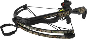"Barnett 78404 Jackal Crossbow Package, 150 lbs Draw, 315 FPS, Red Dot Sight, Quiver, (3) 20"" Arrows Included, Camo Finish"