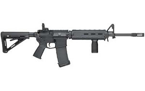 Smith & Wesson Model M&P 15 Rifle 811053, 5.56 NATO, 16 in, Magpul MOE Stock, Black Finish, Flip Up Rear, 30 Rd