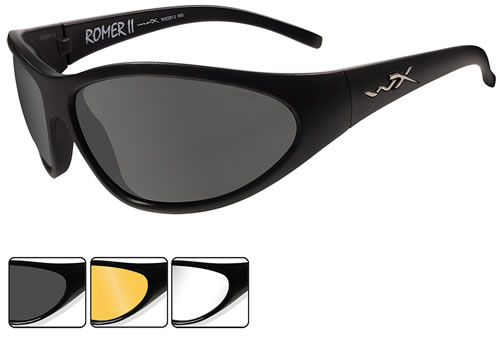 Wiley X 1006 Romer II Eye Glasses, Mt Black, Smoke/Light Rust/Clear Lenses