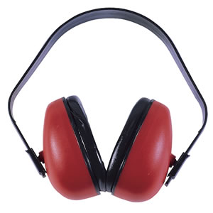 Radians DF0310HC Defender Lightweight Adjustable Muff w/Foam Filled Ear Cups, NRR 23 dB, Red/Black